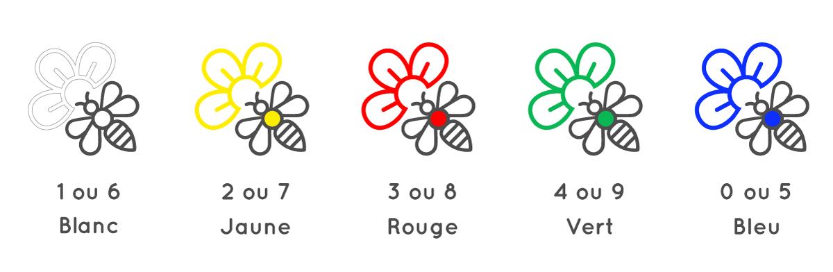 couleurs des reines abeilles par années